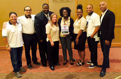 l-r: Deputy Fredrick Noya, Alex Guerrero, Cedric Hick, Sr., Dani Cook, Ngozichukwu Mordi, Kiani Dean, Matthew Smith, and Dr. William Franklin