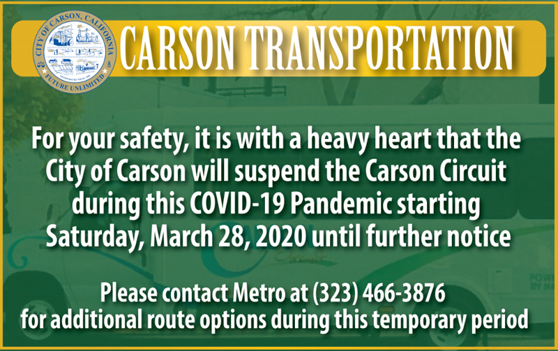 Carson Will Suspend Transporation Services Starting Saturday 3/28/2020